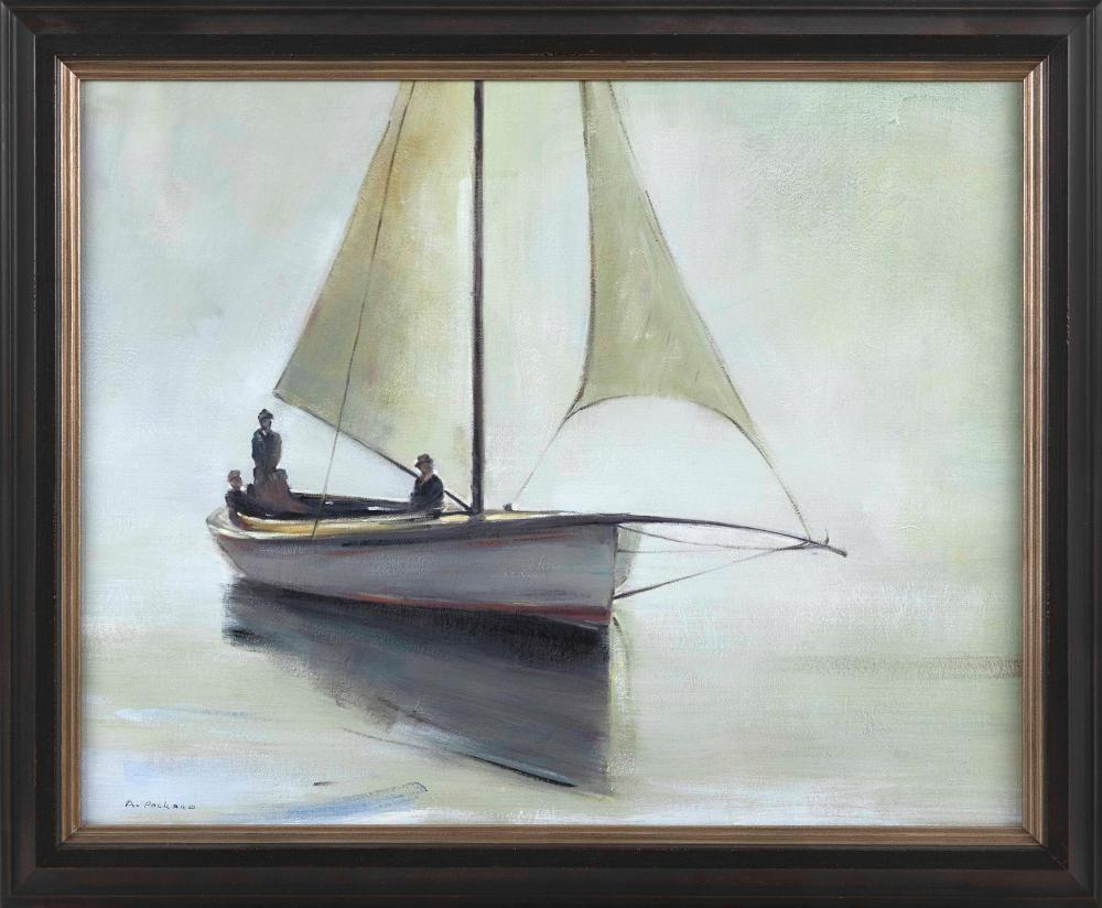 """ANNE PACKARD (Massachusetts/New Jersey, b. 1933), Sailing on calm waters., Oil on canvas, 24"""" x 30"""". Framed 29"""" x 34""""."""