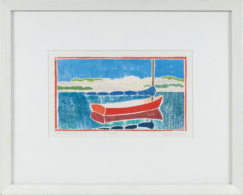"RUTH HOGAN (Massachusetts/New Mexico, b. 1943), ""Red, White, & Blue""., White line woodblock print on paper, 6.25"" x 10"". Framed 13.75"" x 17""."