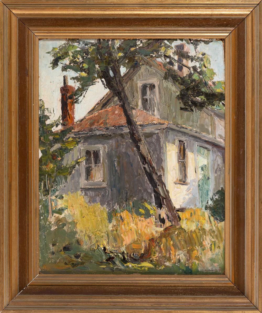 "VIRGINIA B. WOOLLEY (California, 1884-1971), ""Deserted House Cape Cod""., Oil on board, 20"" x 16"". Framed 27"" x 21.5""."