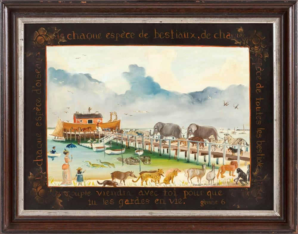 "ELIZABETH MUMFORD (Massachusetts, 1950-2020), Noah's Ark scene with animals parading down a pier, probably Hyannis Port., Oil on board, 15"" x 20.25"". Framed 18.25"" x 23.25""."