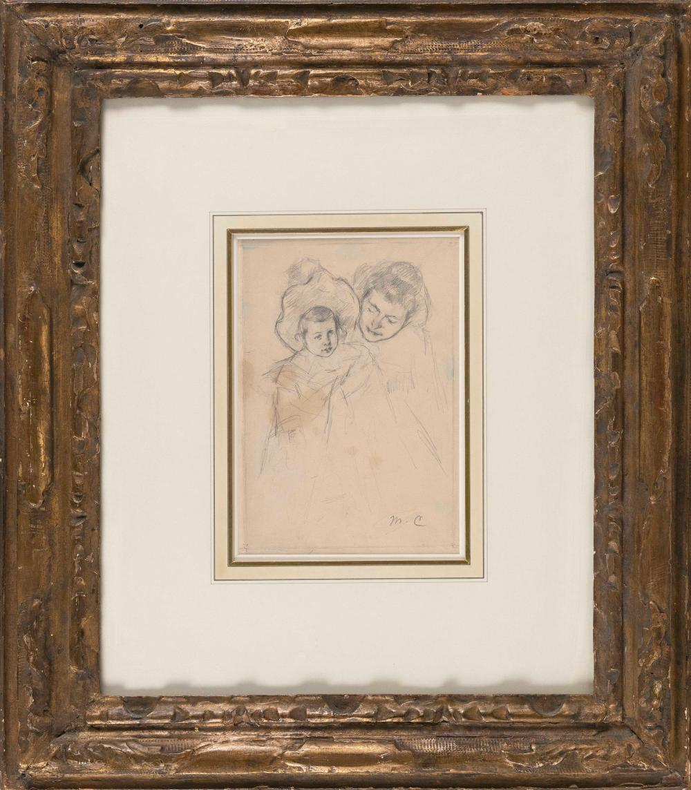 """MARY STEVENSON CASSATT (Pennsylvania/France, 1844-1926), """"Louise, In A Fluffy Bonnet and a Coat, Held by Reine""""., Pencil drawing on cream wove paper, 8.75"""" x 6"""". Framed 23"""" x 20""""."""