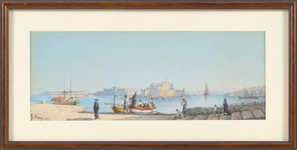 "MARIA GIANNI (Italy, 19th Century), Fort St. Angelo from Valletta, Malta., Gouache, 4.75"" x 12.75"" sight. Framed 8.25"" x 16.25""."