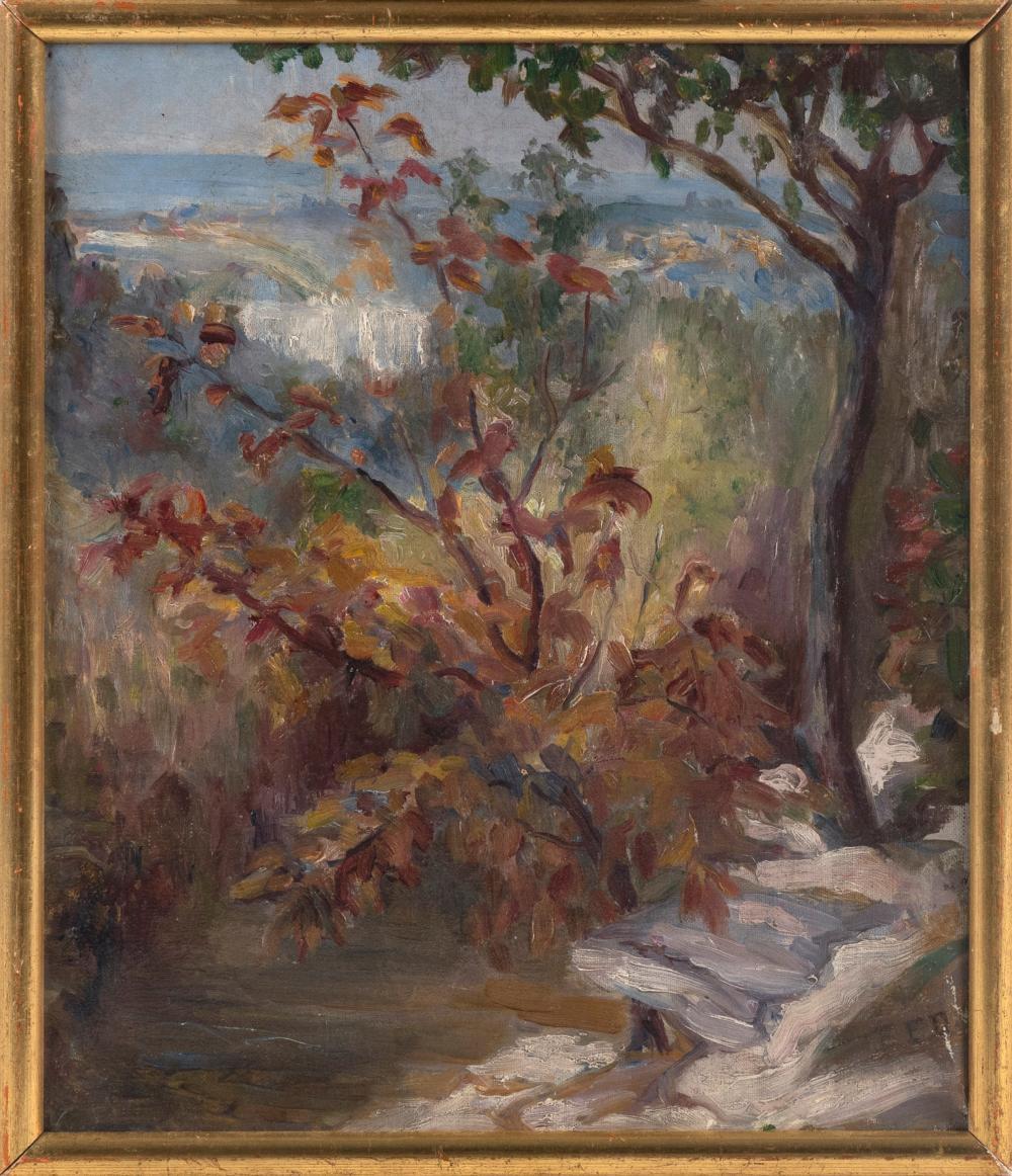 """EDITH FAIRFAX DAVENPORT (Florida/Kansas/Missouri, 1880-1957), Landscape in fall colors., Oil on canvas, 12"""" x 10"""". Framed 13"""" x 11""""."""