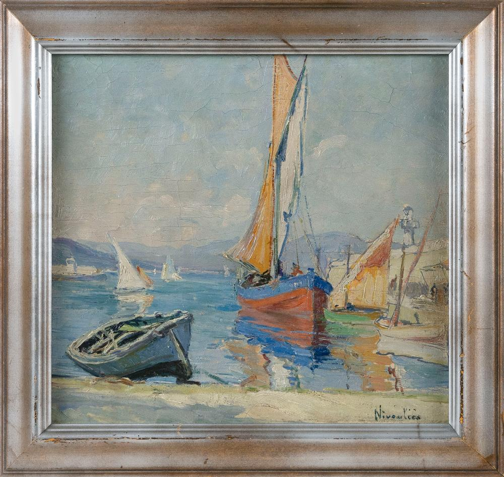 """MARIE NIVOULIES DE PIERREFORT (France, 1879-1968), Boats, Saint-Tropez., Oil on board, 13.5"""" x 14.5"""". Framed 17"""" x 18""""."""