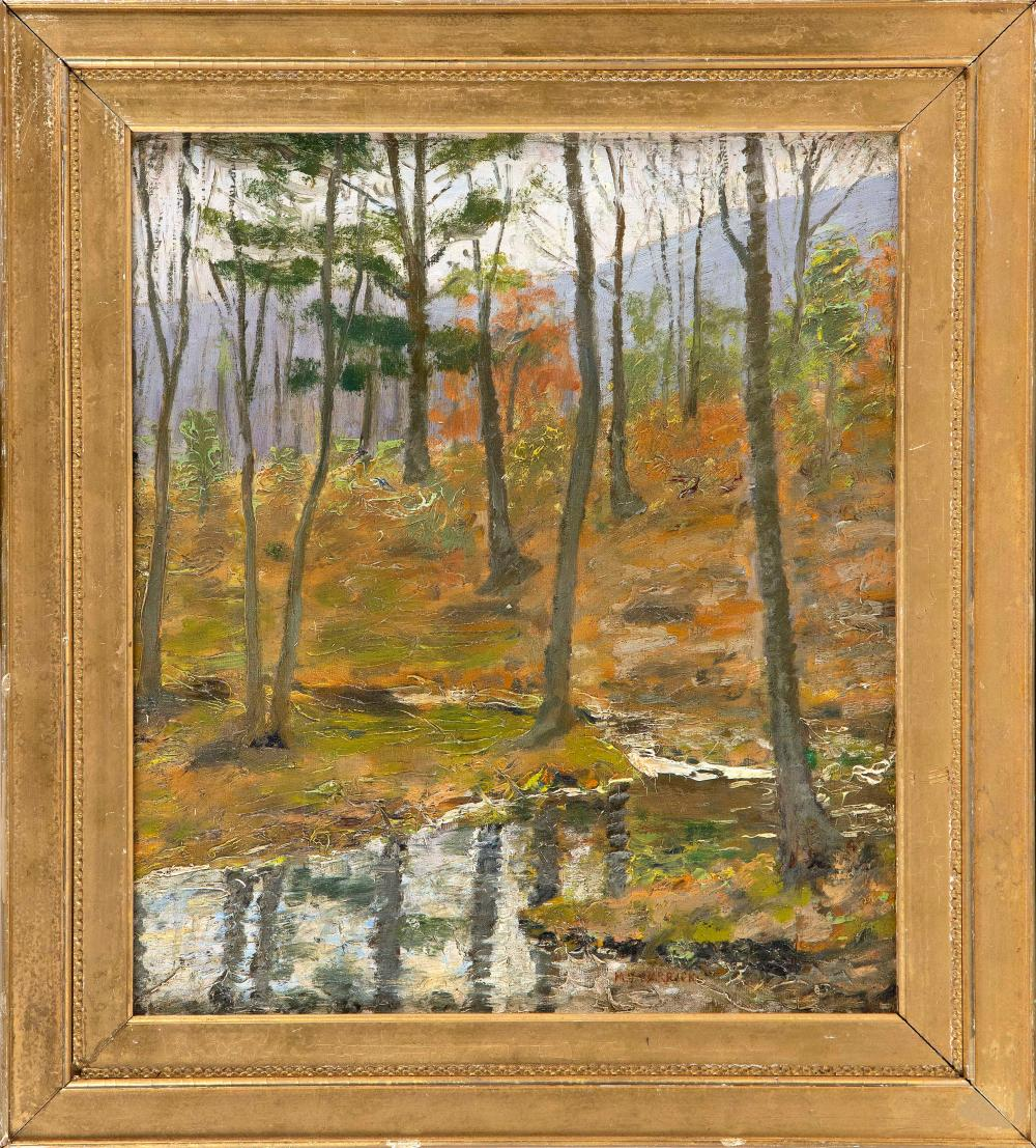 """META VAUX WARRICK FULLER (Massachusetts/Pennsylvania, 1877-1968), Forest landscape., Oil on canvas, 17"""" x 15"""". Framed 23"""" x 19""""."""