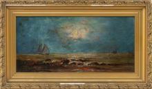"VERNON ELLIS, New Hampshire, 1885-1944, Sunset seas., Oil on board, 6"" x 12"". Framed 9"" x 15""."