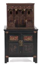 TWO PIECES OF JAPANESE ROSEWOOD FURNITURE 1) Altar Cabinet In Temple Form.  With Two