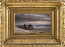 """FRANCIS AUGUSTUS SILVA, New York, 1835-1886, """"The Old Wreck""""., Oil on canvas, 8"""" x 15"""". Framed 19"""" x 27""""."""