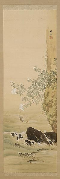 """SCROLL PAINTING ON SILK By Yamaguchi Hoshun (1893-1971). Depicting azaleas and a songbird. Signed and seal marked. 44½"""" x 13"""". With..."""