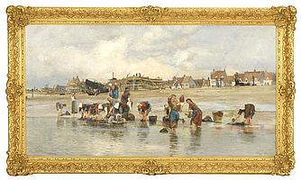 """CHARLES WILLIAM WYLLIE, English, 1853-1923, Washing by the shore, with dry-docked boats in the background., Oil on canvas, 26½"""" x 50..."""