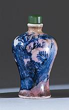 UNDERGLAZE BLUE AND PINK-BLUSH PORCELAIN SNUFF BOTTLE In meiping form. Height 2.6
