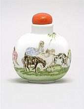 POLYCHROME PORCELAIN SNUFF BOTTLE In ovoid form with decoration of horses and willow tree. Six-character Guangxu mark on base. Heigh...