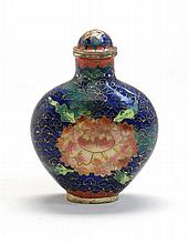 CLOISONNÉ ENAMEL SNUFF BOTTLE In spade shape with bird and peony design on a blue ground. Conforming stopper. Height 3