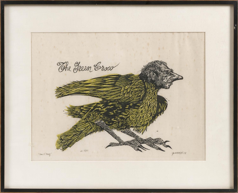 "ANTONIO FRASCONI, Uruguay/America, 1919-2013, ""The Green Crow""., Woodcut, 13"" x 18"" sight. Framed 20"" x 25""."