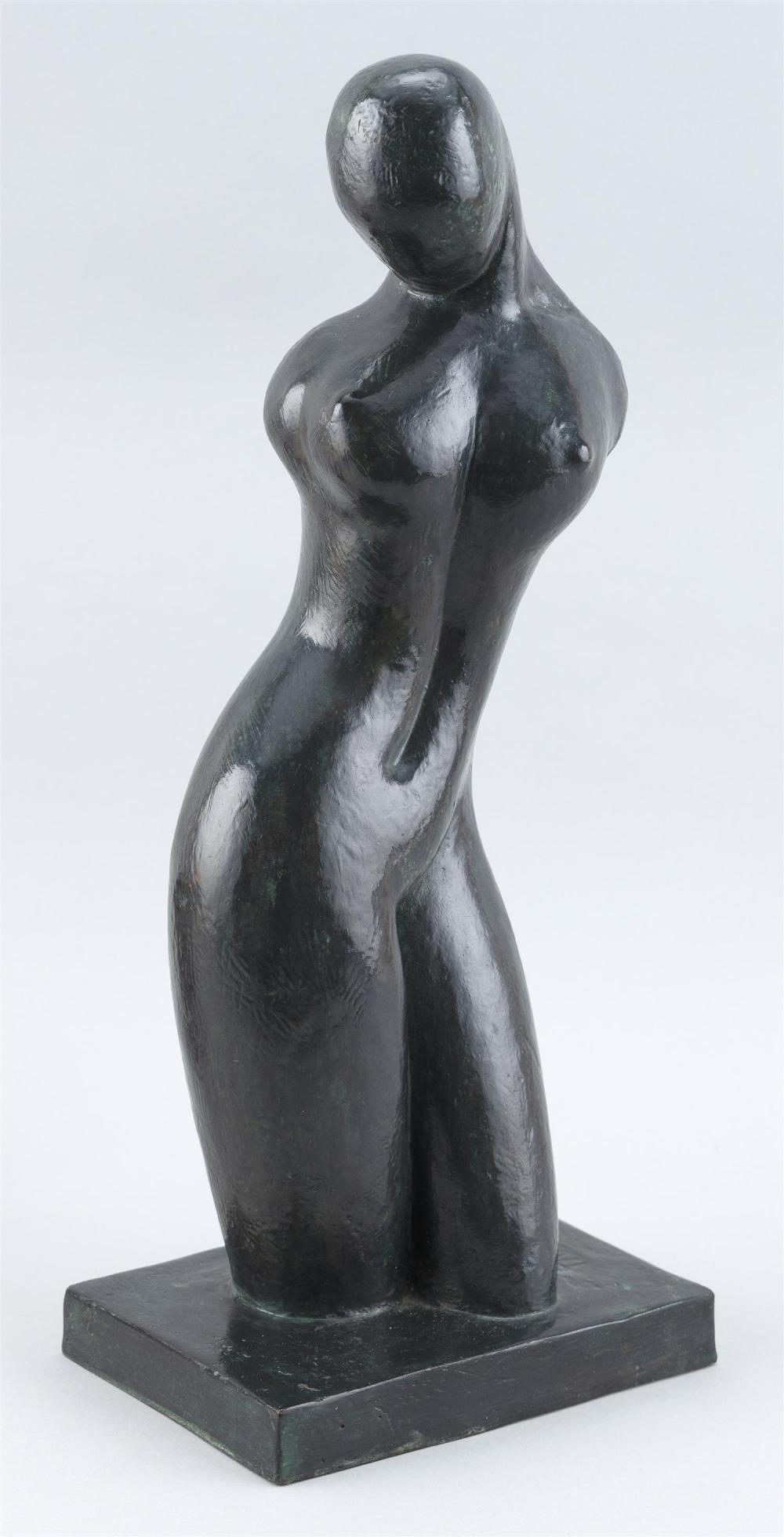 """ANGEL TARRAC, Spain, 1898-1979, Female nude., Cast bronze with applied verdigris patina, height 16""""."""