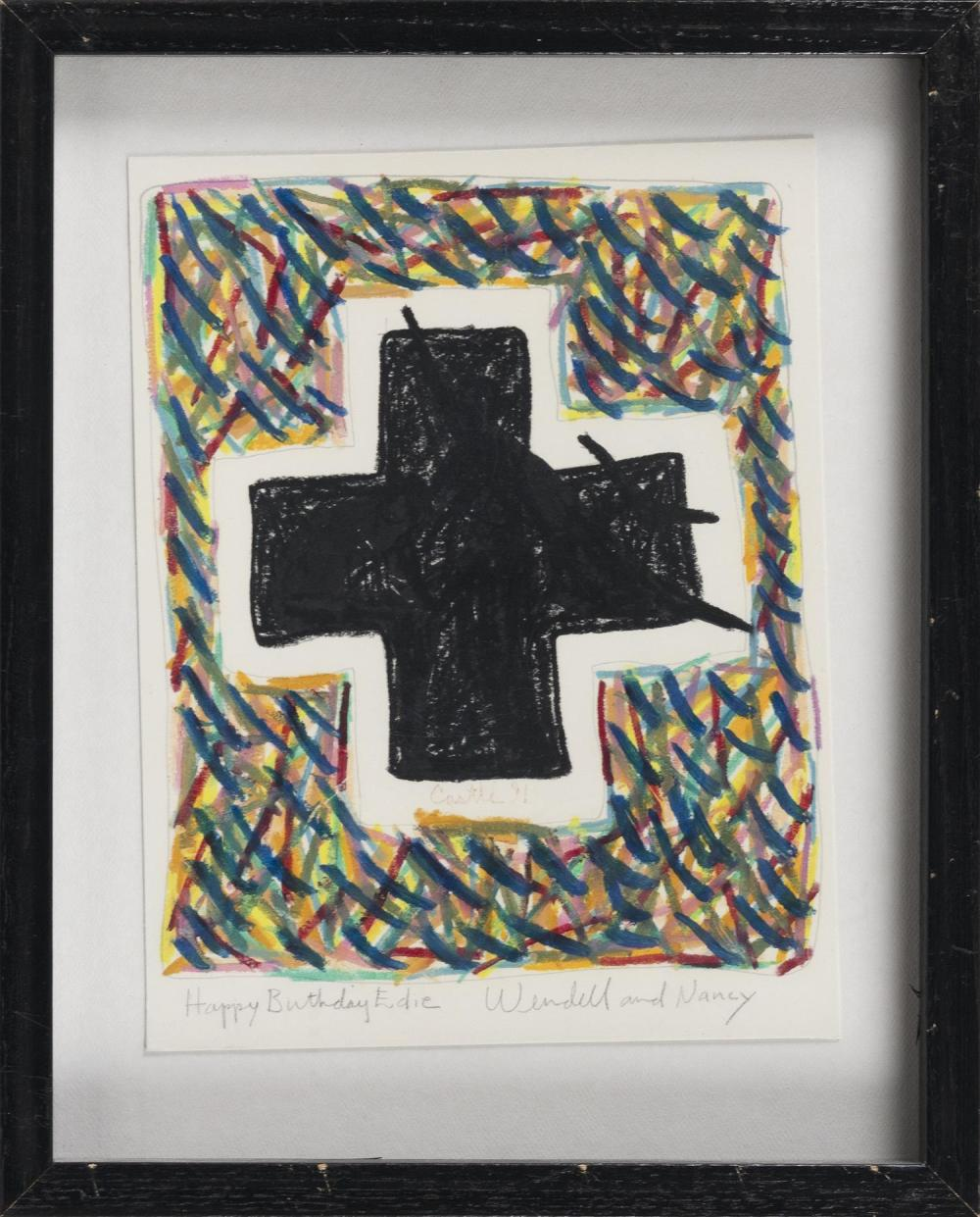 "WENDELL CASTLE, New York/Kansas, 1932-2018, Birthday card., Mixed media on paper, sheet size 11"" x 8.5"". Framed."