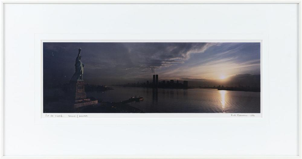 DICK SWANSON, America, b. 1934, New York sunrise, depicting the World Trade Center and the Statue of Liberty., Color photograph, mat...