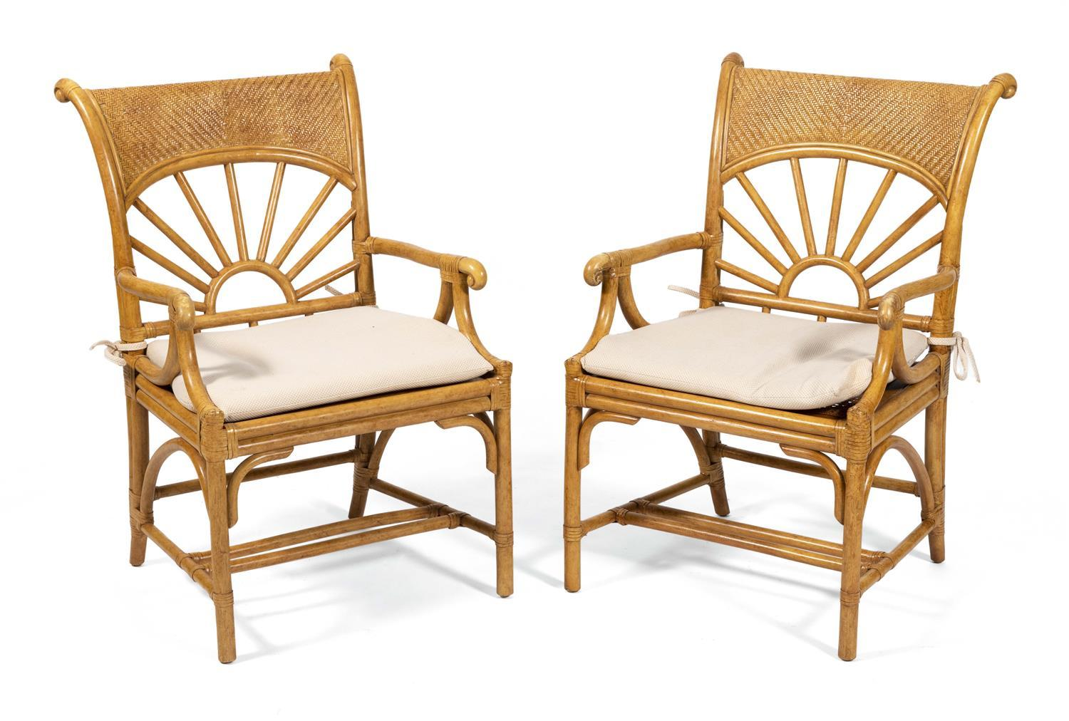 PAIR OF RATTAN ARMCHAIRS Mid-20th Century
