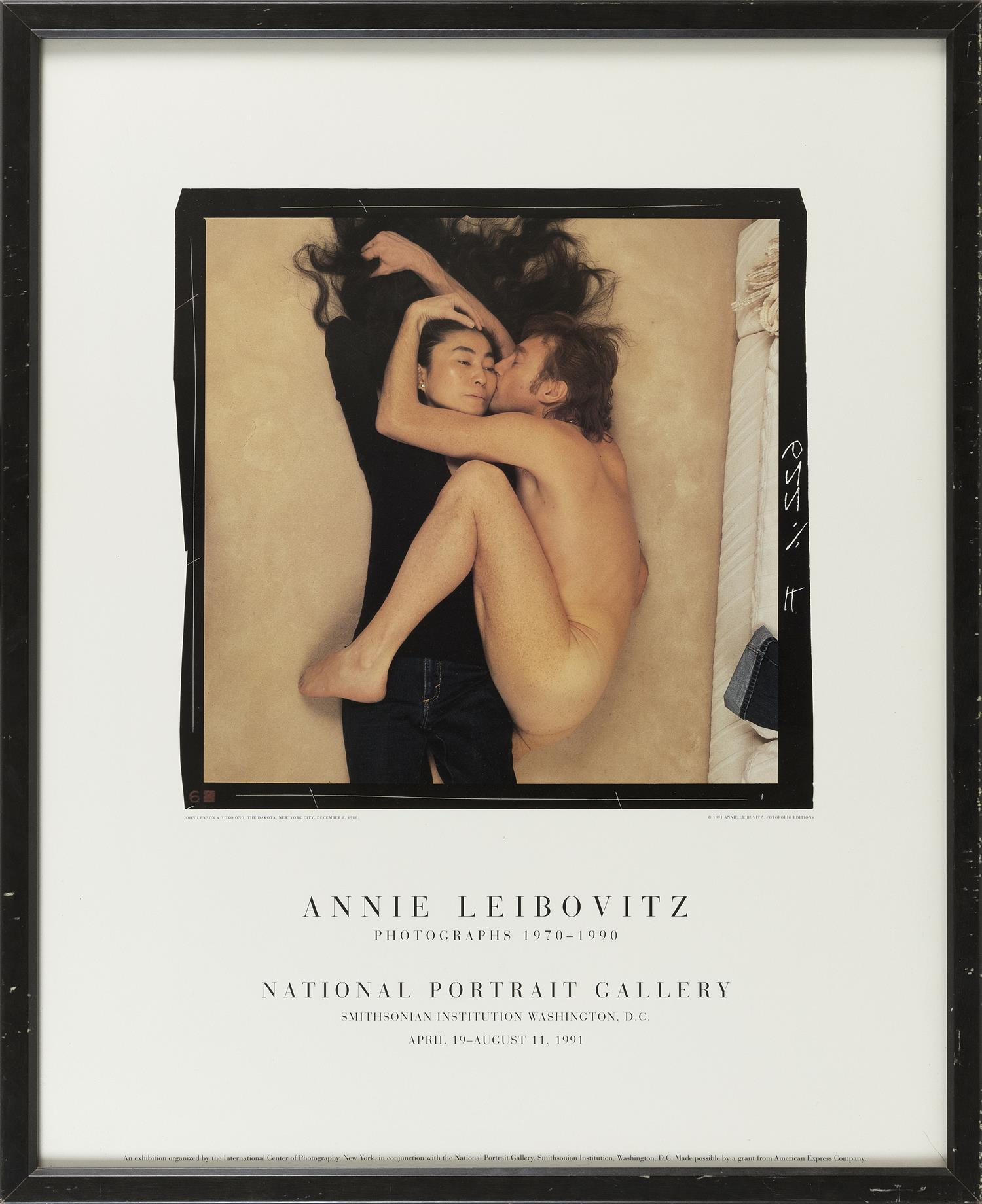 "POSTER FOR ""ANNIE LEIBOVITZ PHOTOGRAPHS 1970-1990"" AT THE NATIONAL PORTRAIT GALLERY Depicts the iconic image of John Lennon and Yoko..."