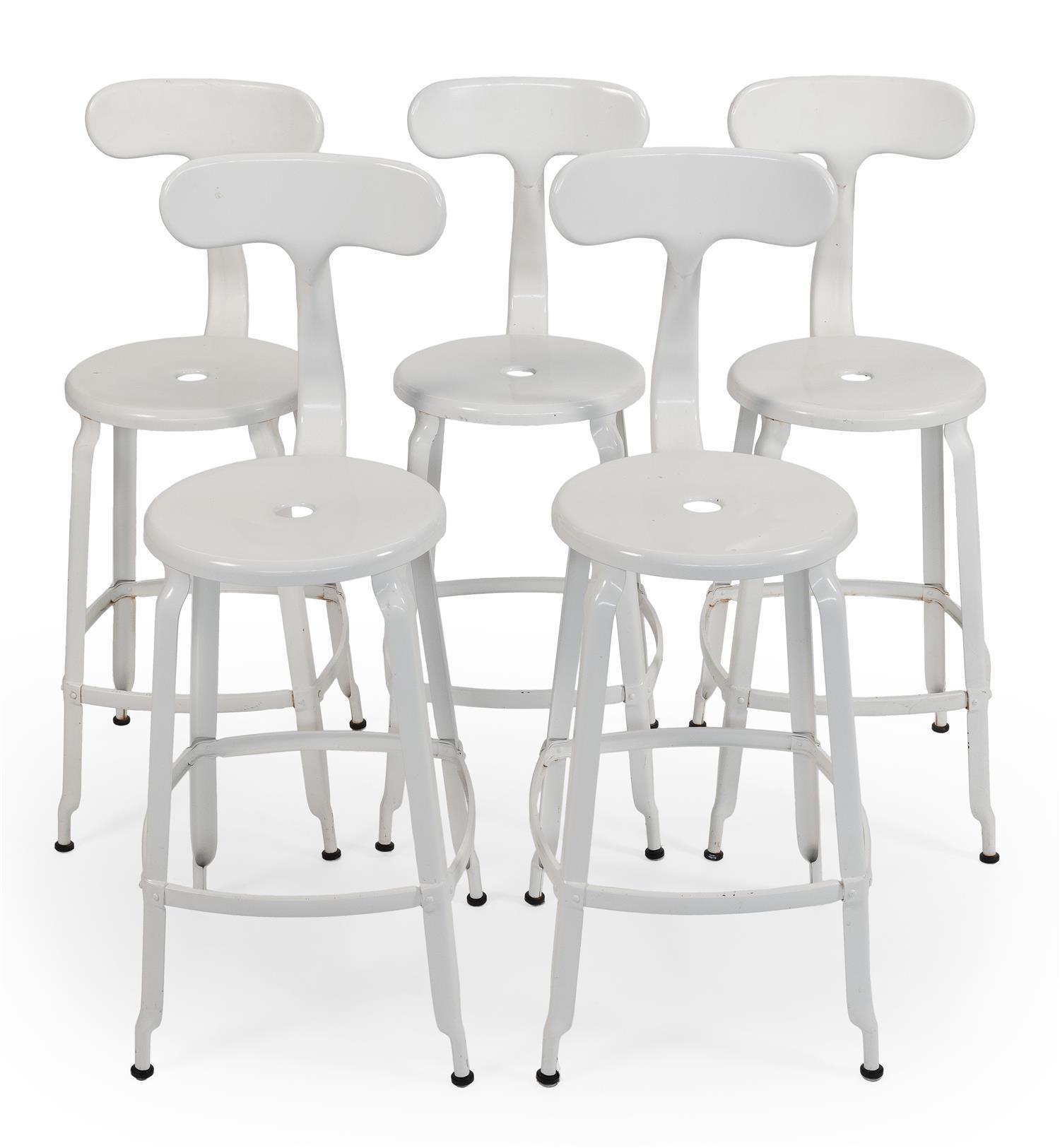 "FIVE RESTORATION HARDWARE T-BACK STOOLS White enameled metal. Back heights 38.5"". Seat heights 25.5""."