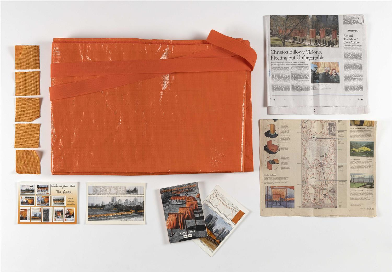 "TWENTY-THREE PIECES OF EPHEMERA FROM CHRISTO AND JEANNE-CLAUDE'S ""THE GATES"" 1) Orange tarp used to cover and wrap fabric before ope..."