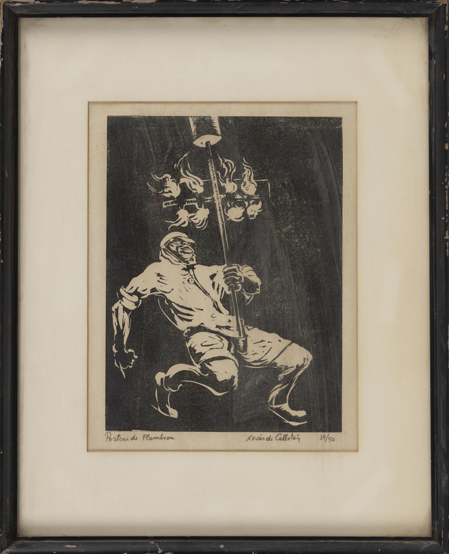 "XAVIER DE CALLATAY, Louisiana/New York/Belgium, 1932-1999, ""Porteur de Flambeau"", Mardi Gras flambeaux torchbearer, circa 1960., Woo..."
