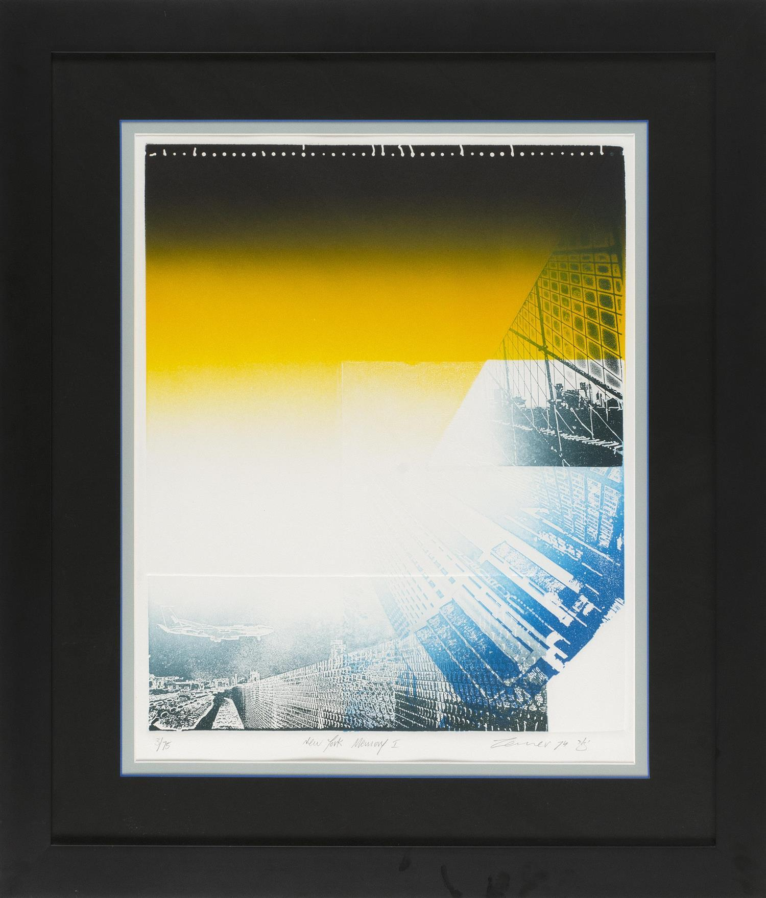 "YIGAL ZEMER, Israel, b. 1938, ""New York Memory I""., Embossed etching, 11"" x 18"" sight. Framed 33.5"" x 29""."