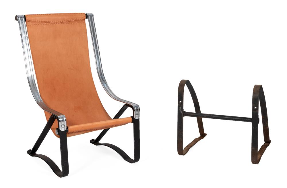 SALVATORE BEVELACQUA FOR MCKAY CRAFT FURNITURE LEATHER, STEEL AND CHROME SLING CHAIR Pittsburgh, Pennsylvania