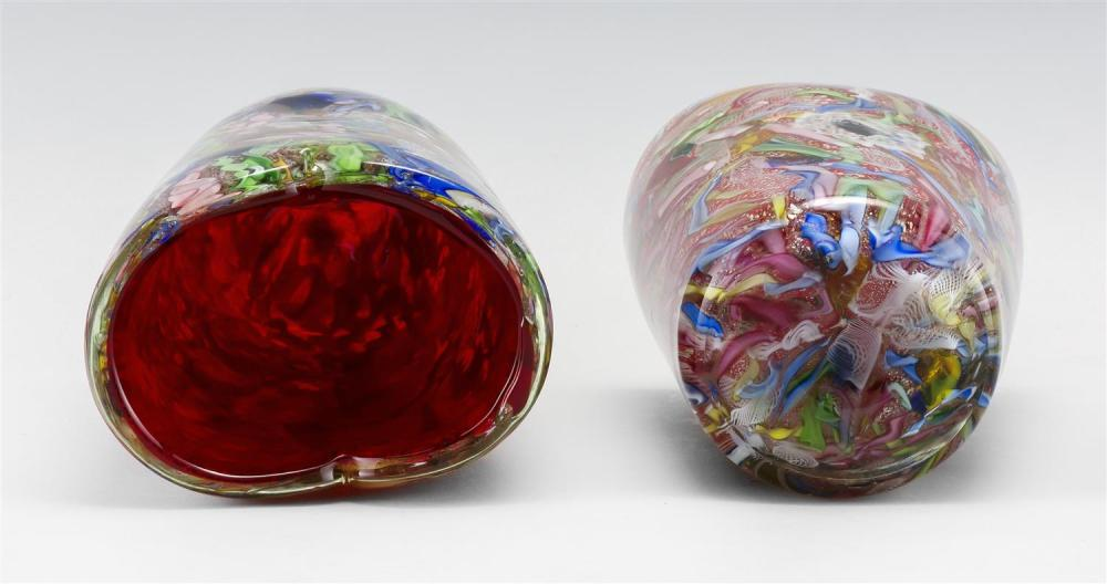 PAIR OF MURANO GLASS VASES Broken cane design on an aventurine and red ground. Heights approx. 7.5