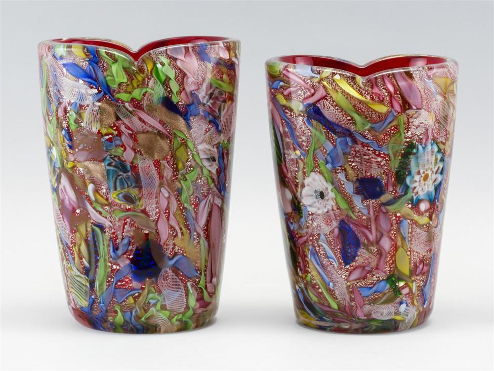 """PAIR OF MURANO GLASS VASES Broken cane design on an aventurine and red ground. Heights approx. 7.5""""."""