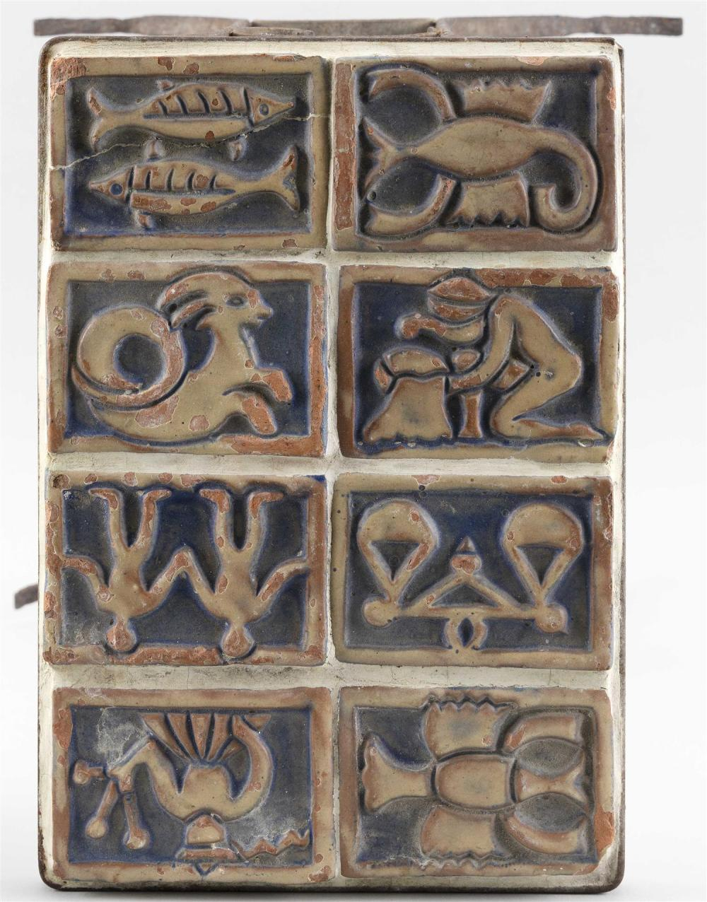 MORAVIAN POTTERY TILE-TOP SIDE TABLE Eight Zodiac-themed and other tiles mounted on a wrought iron base. Tiles 3