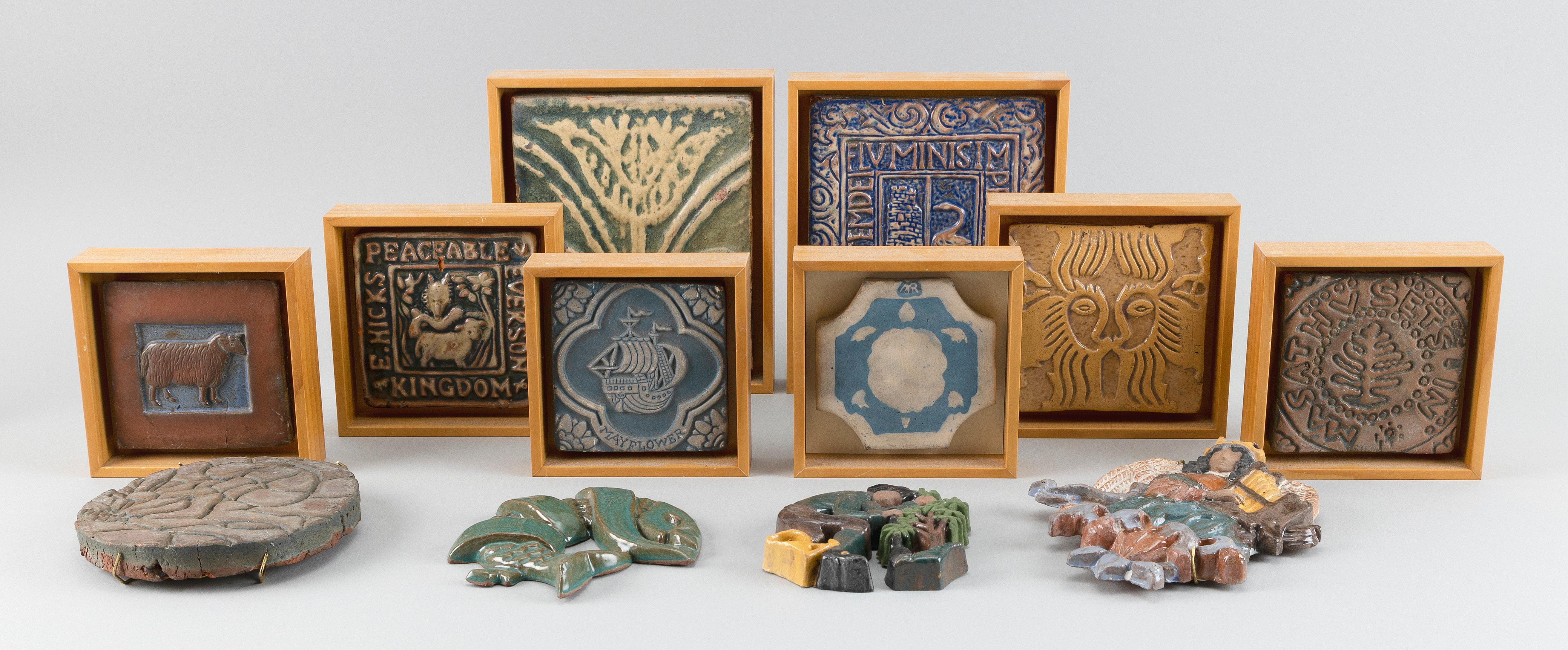 """TWELVE MORAVIAN POTTERY & TILE WORKS CERAMIC TILES Doylestown, Pennsylvania, 20th Century, Subjects include animals, Massachusetts Oak and the Mayflower . Eight in matching birch frames. Largest 8"""" x 7""""., Provenance:"""