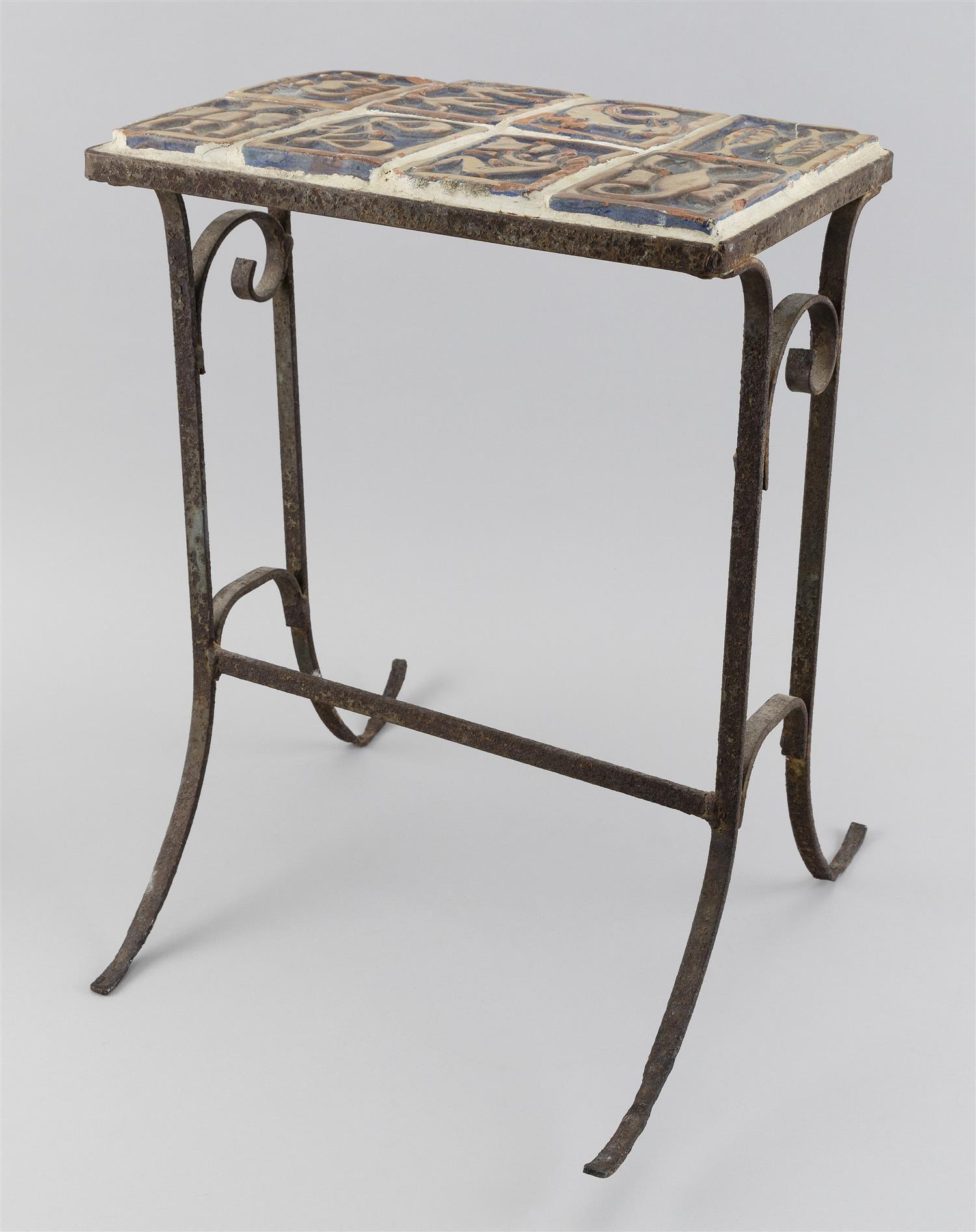 """MORAVIAN POTTERY TILE-TOP SIDE TABLE Eight Zodiac-themed and other tiles mounted on a wrought iron base. Tiles 3"""" x 4"""". Table height..."""