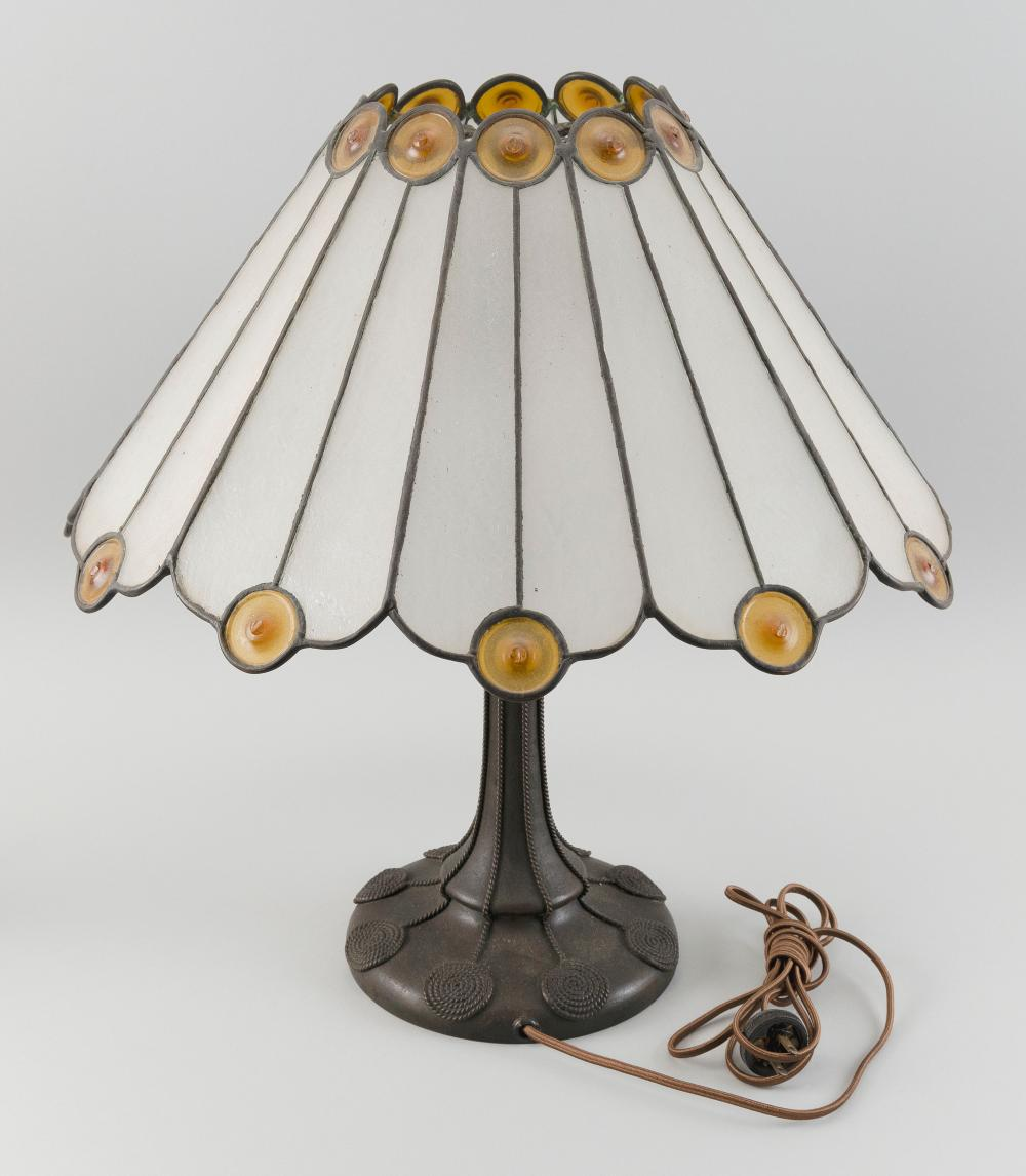 TABLE LAMP WITH LEADED GLASS SHADE AND HANDEL BRONZE BASE