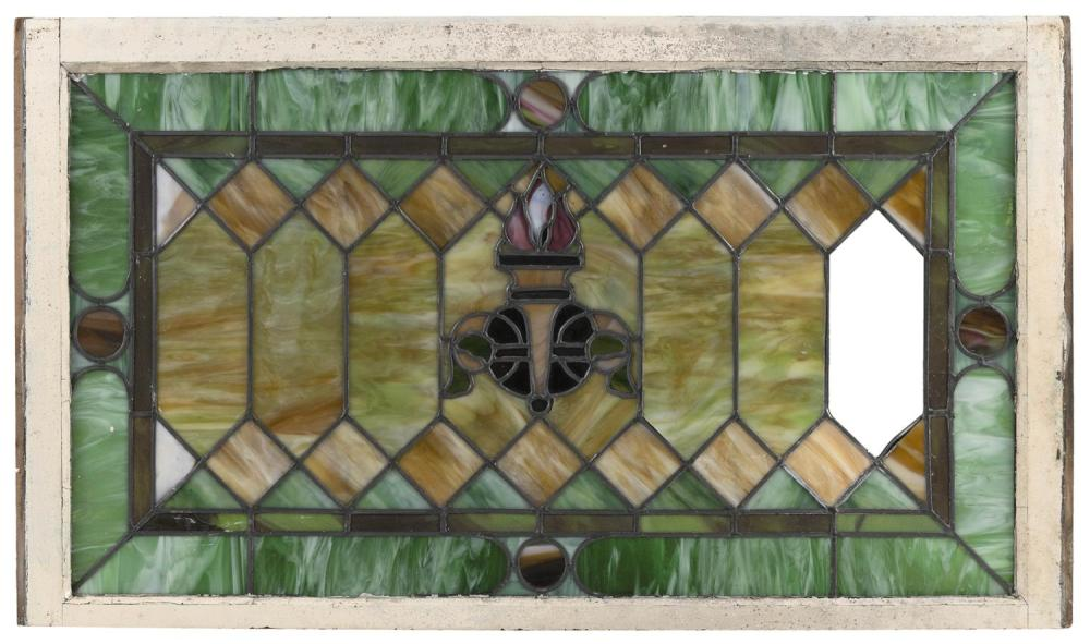 LEADED SLAG GLASS WINDOW PANE Housed in a wooden frame. 44