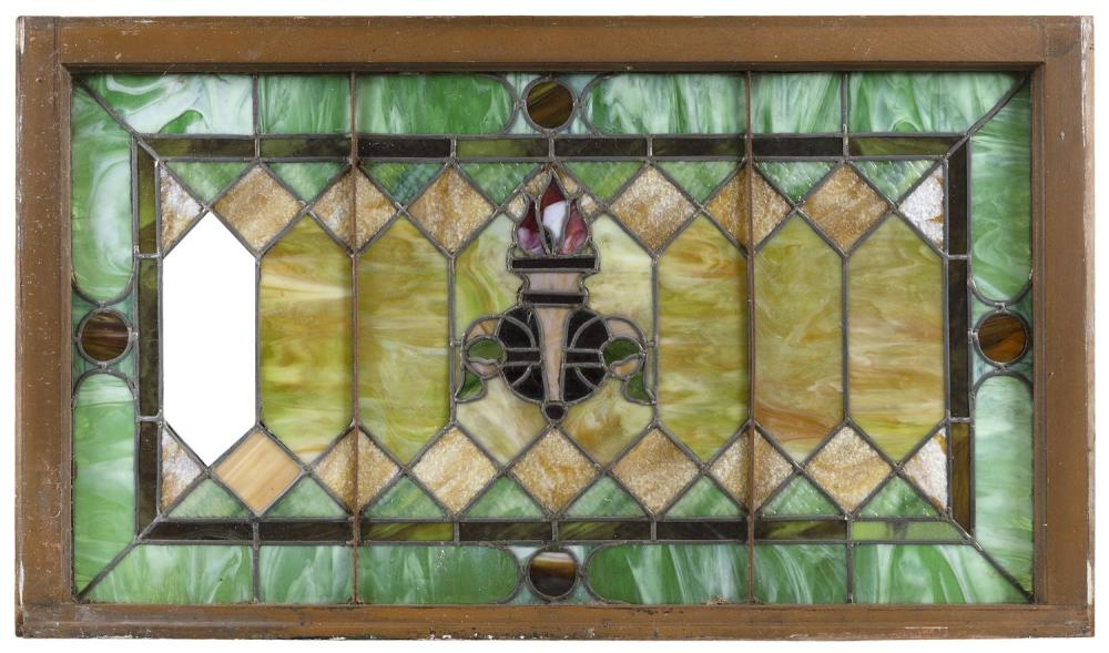 "LEADED SLAG GLASS WINDOW PANE Housed in a wooden frame. 44"" x 20.75""."