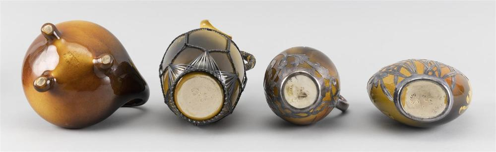 THREE PIECES OF ROOKWOOD POTTERY WITH SILVER OVERLAY