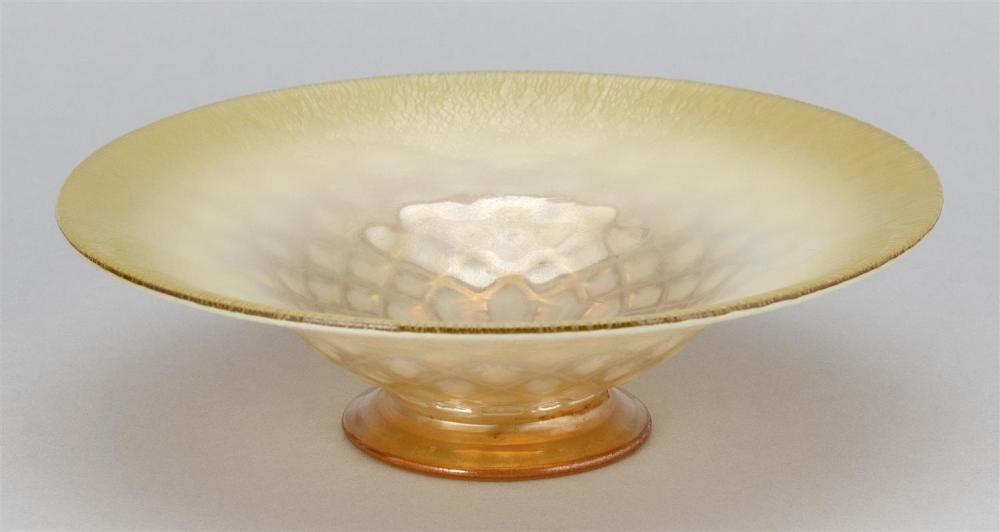 "TIFFANY STUDIOS GOLD FAVRILE GLASS BOWL Flaring bowl with a diaper pattern. Unpolished pontil. Underside inscribed ""1566 - 2862 N L...."