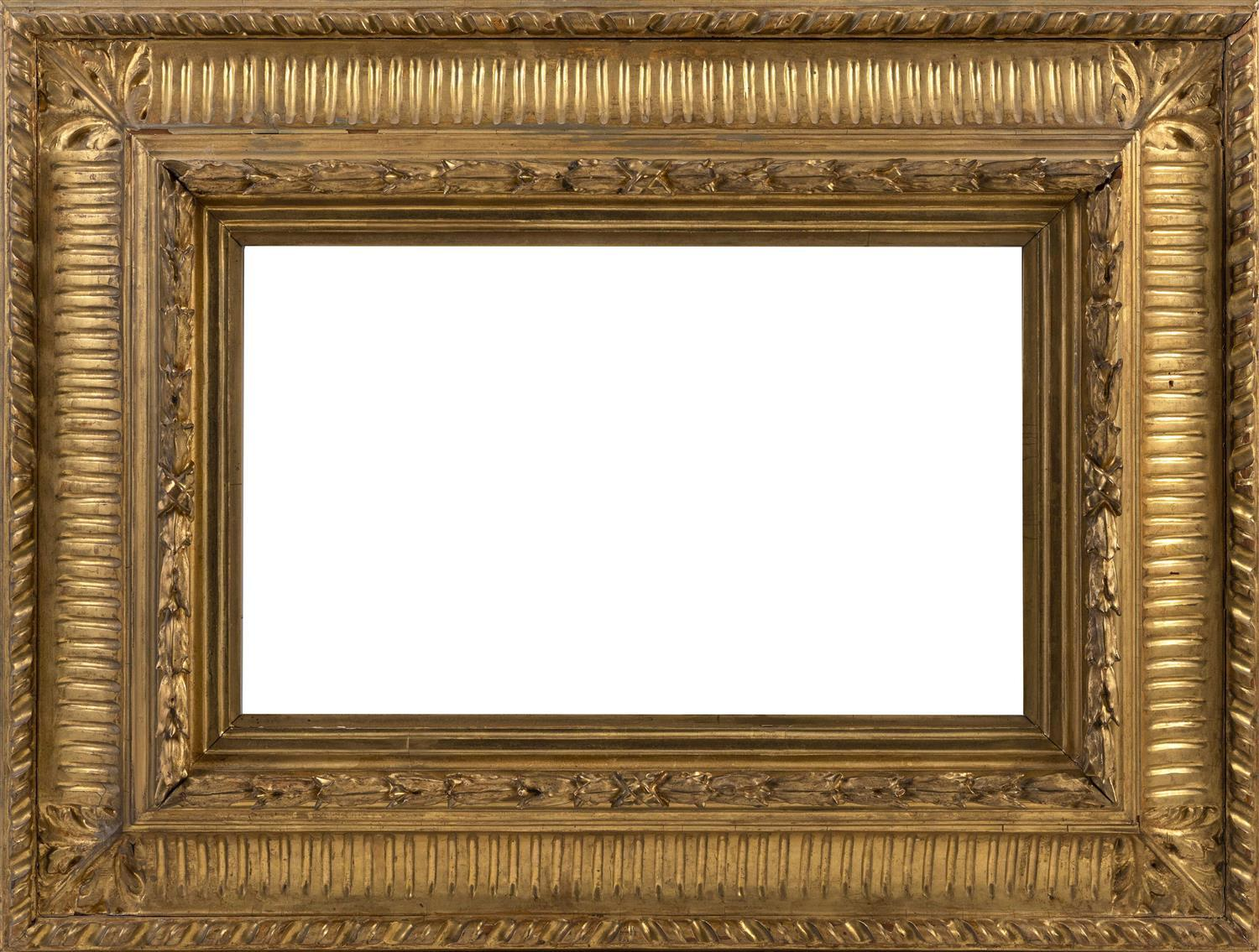 "GILT FRAME Deep curved moldings and acanthus leaf corners. Aperture 14.25"" x 22.25"". Overall 25"" x 33""."