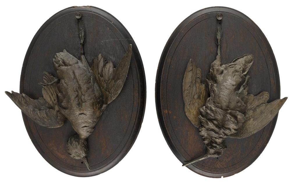 """PAUL COMOLERA, France, 1818-1897, Two bird sculptures:, Patinated pot metal, 19"""" x 14""""."""