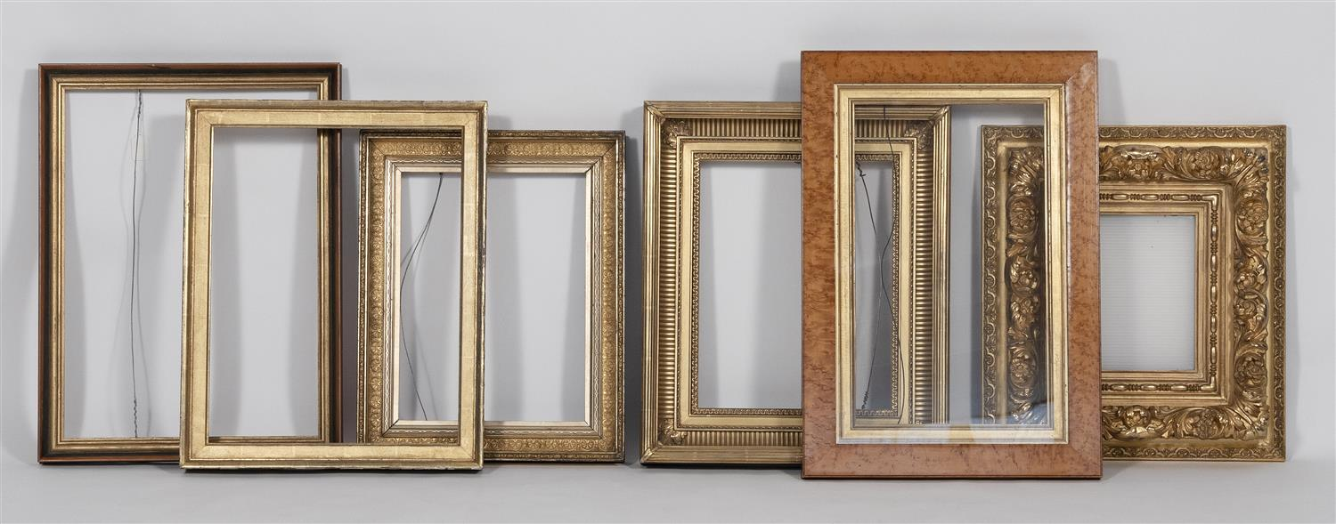 """SIX FRAMES Ages vary. Includes a fine gilt frame and a maple veneer frame. Largest aperture approx. 16"""" x 22""""."""