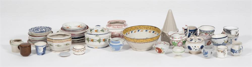 APPROX. THIRTY-FIVE PIECES OF SOFT-PASTE AND TRANSFER-DECORATED PORCELAIN Includes bowls, plates, cups, pitchers, etc. Largest heigh...