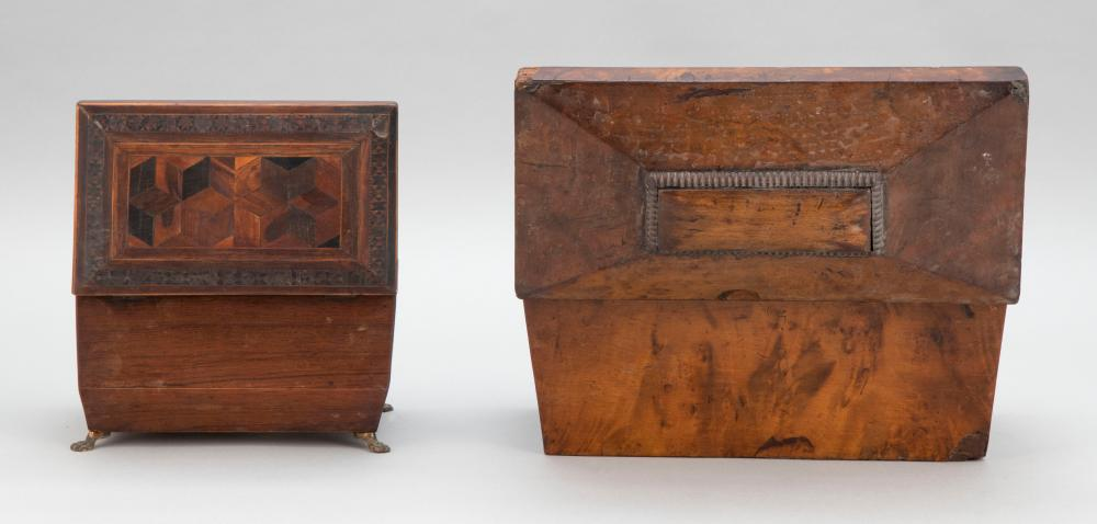 TWO ENGLISH TEA CADDIES 1) Sarcophagus form in burled wood veneer. Interior with lidded compartments and a central open compartment....