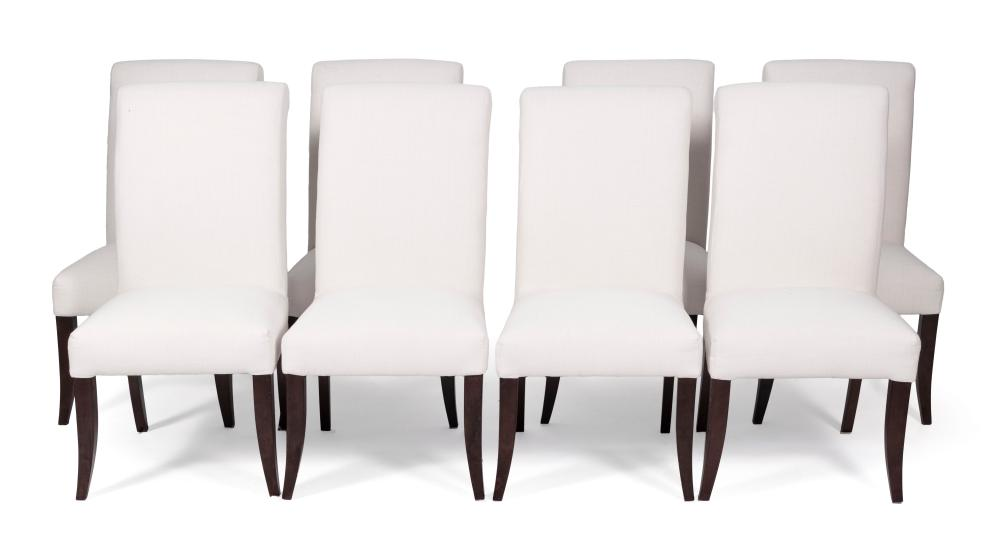 SET OF EIGHT POTTERY BARN UPHOLSTERED ARMCHAIRS Contemporary