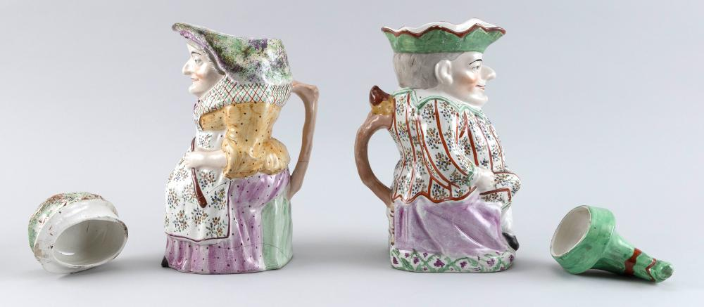 PAIR OF ENGLISH STAFFORDSHIRE PUNCH & JUDY COVERED TOBY JUGS Late 19th Century, Heights 12