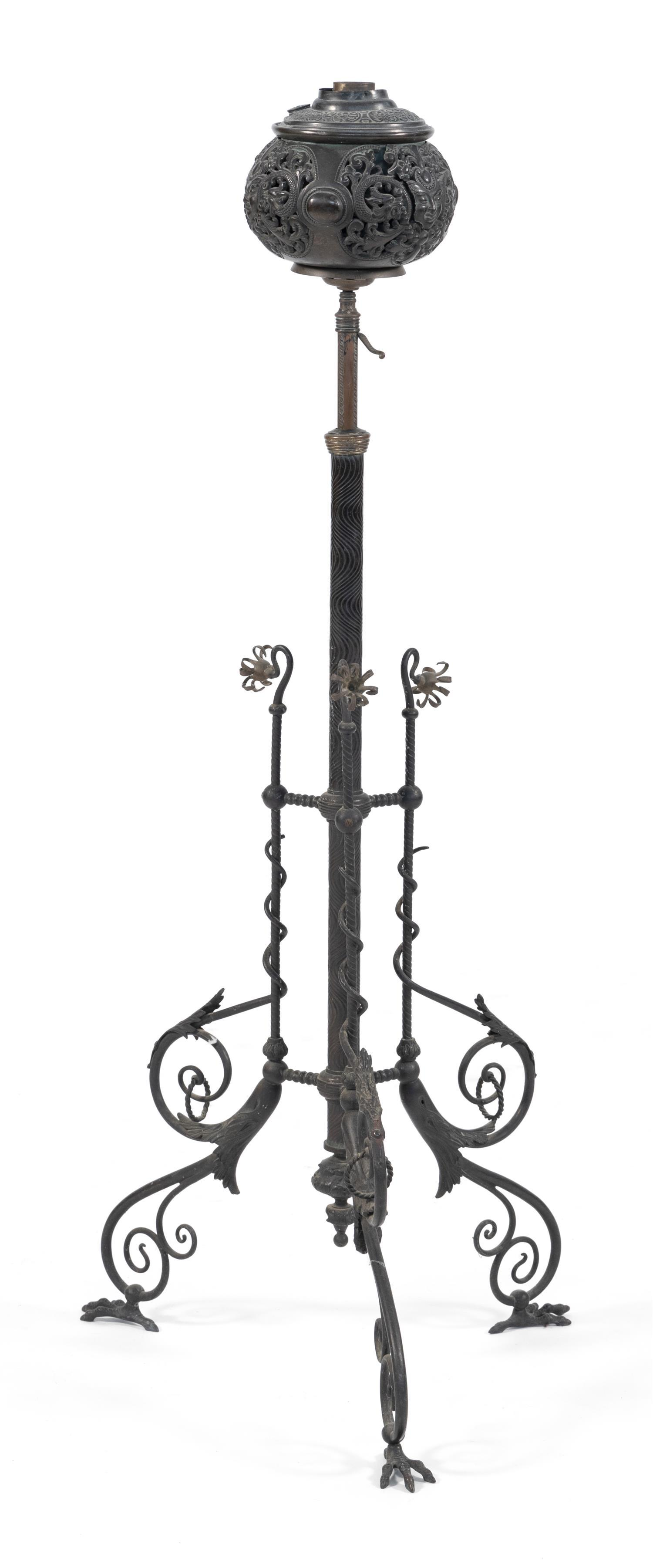 BRASS AND IRON PIANO FLOOR LAMP