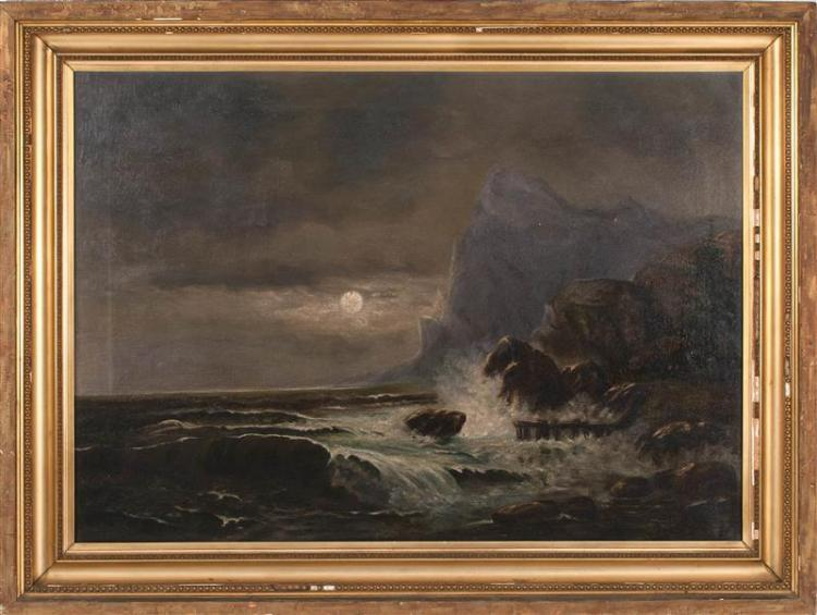 FRAMED PAINTING: ARTIST UNKNOWN A moonlit coast with dramatic seas. Unsigned. Aaron Draper Shattuck-patented stretcher keys. Oil on...
