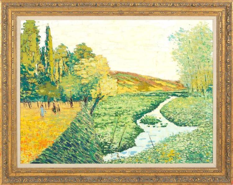 "WARIK WHEATLEY, American, 1928-1996, ""The Stream in the Fields""., Oil on canvas, 30"" x 40"". Framed 37"" x 47""."