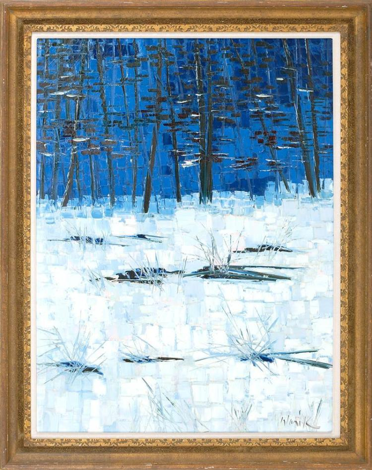 """WARIK WHEATLEY, American, 1928-1996, """"Winter""""., Oil on canvas, 40"""" x 30"""". Framed 47"""" x 37""""."""