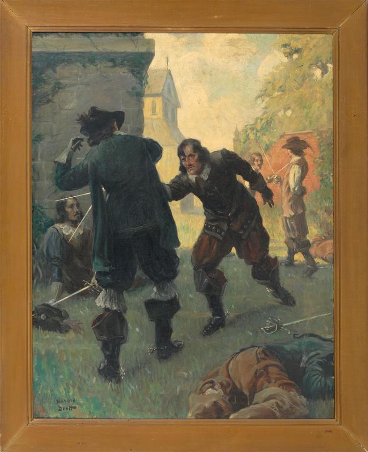 """HAROLD MATTHEWS BRETT, Massachusetts, 1880-1955, The sword fight., Oil on canvas, 42"""" x 34"""". Framed 50"""" x 42""""."""